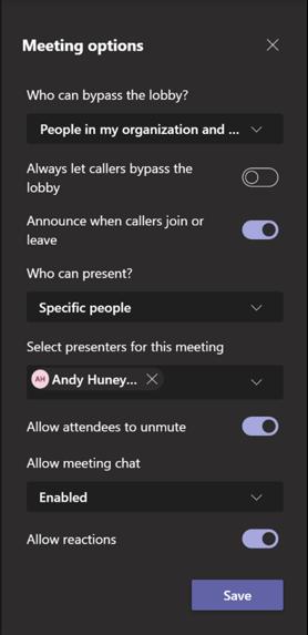 Teams webinar settings